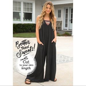 Natural Life One Size Charcoal Knit Jumpsuit